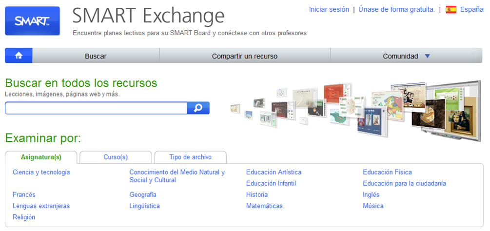 Smart Exchange. Recursos pizarra digital