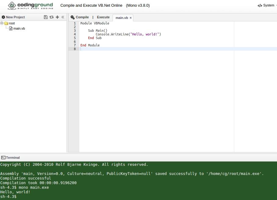 coding ground .NET