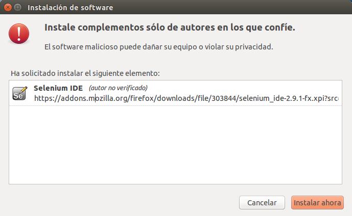 selenium IDE instalar