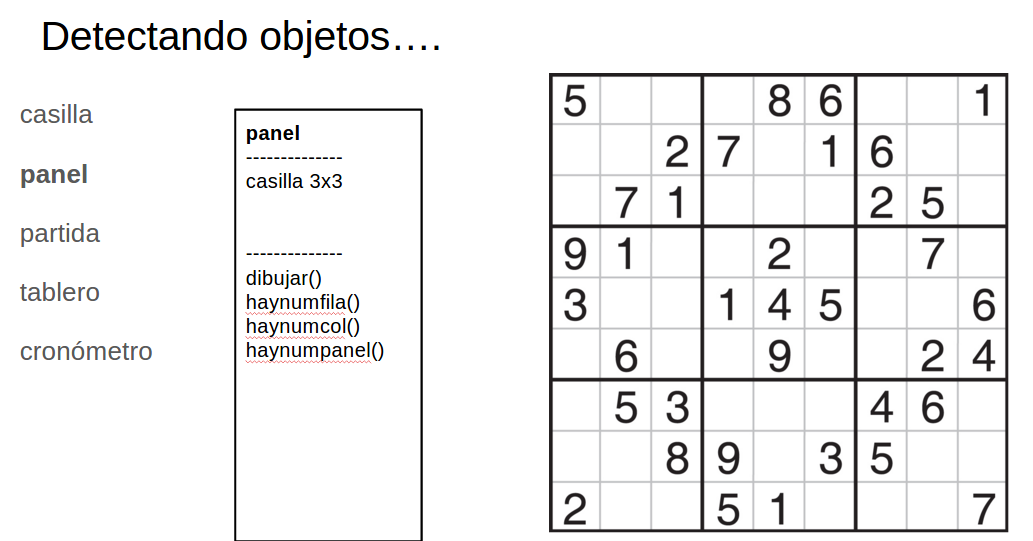 Detectando objetos clase panel