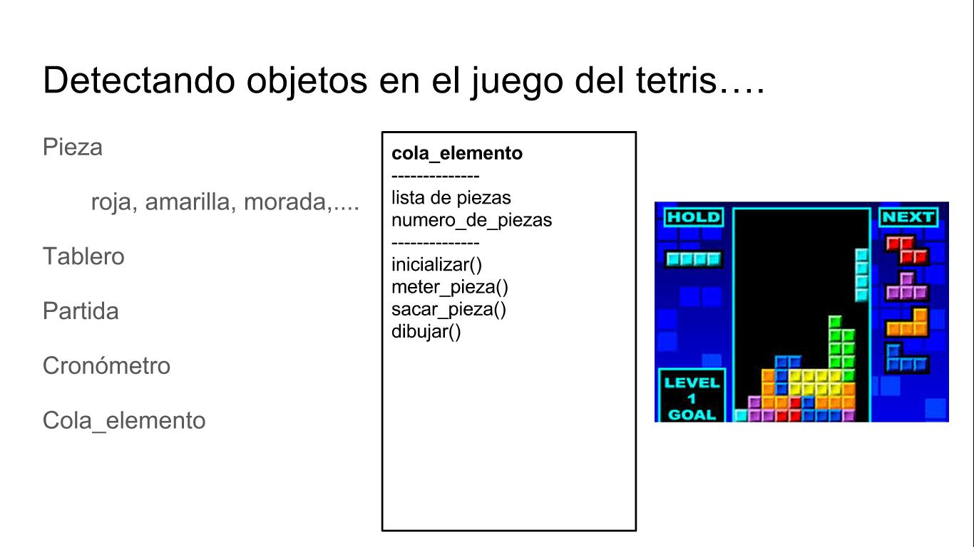 Cola de elementos del juego del tetris