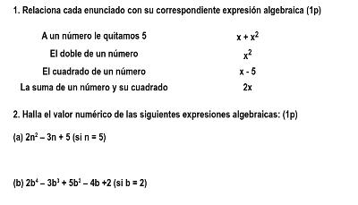 examen algebra 1 eso 1