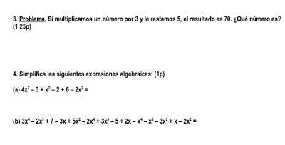 examen algebra 1 eso 2