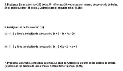examen algebra 1 eso e