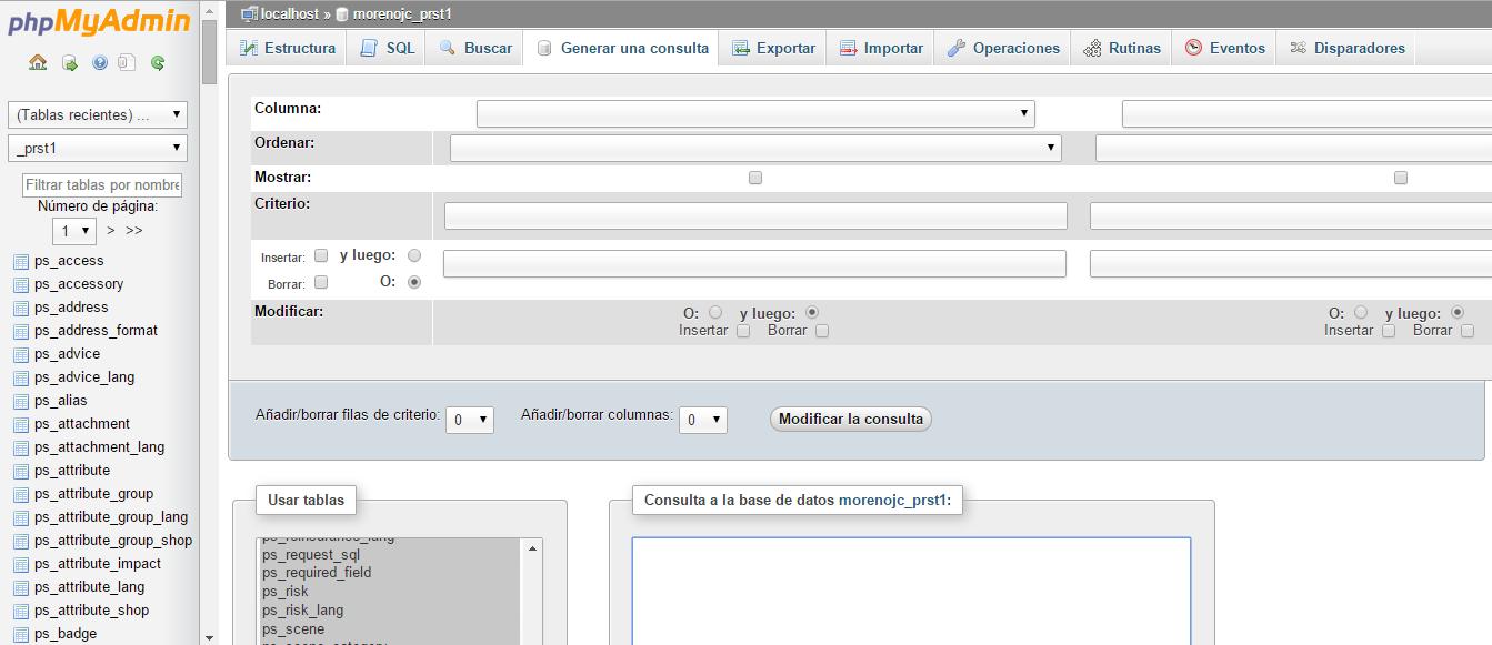 Interfaz phpMyAdmin. Herramienta de creación de consultas