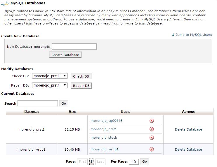 Herramienta MySQL Databases