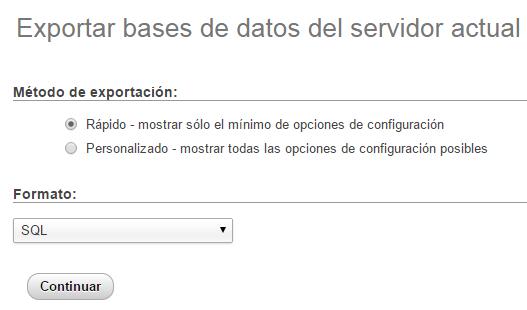 Exportación de una base de datos en phpMyAdmin