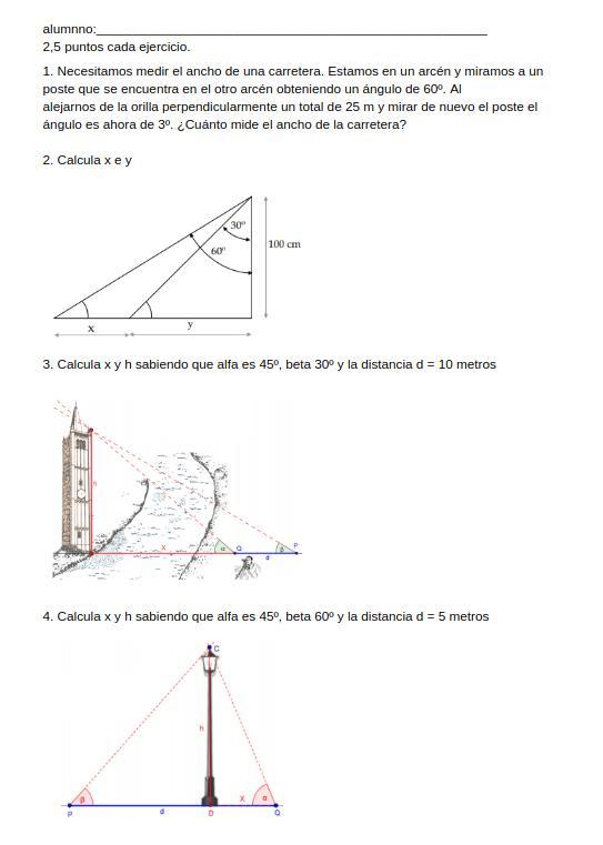 examen 4 eso trigonometría